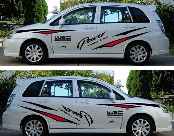 Un conjunto auto Truck car cab deporte de carreras de carreras Styling Vinyl Car Body Sticker Cintura capucha Line Calcomanías