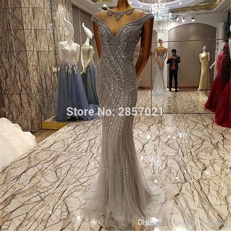 Silver Rhinestone Prom Dresses