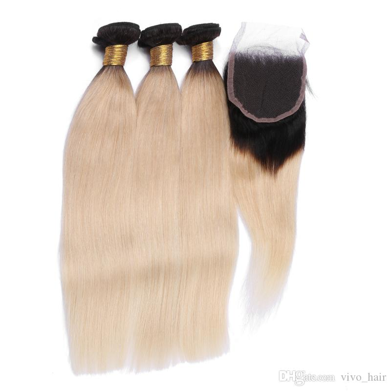 Hot Cheap 9A Peruvian Virgin Hair Straight 3 Bundles With 4x4 Inch Closure 1B/613 Two Tone Ombre Hair Human Hair Extensions