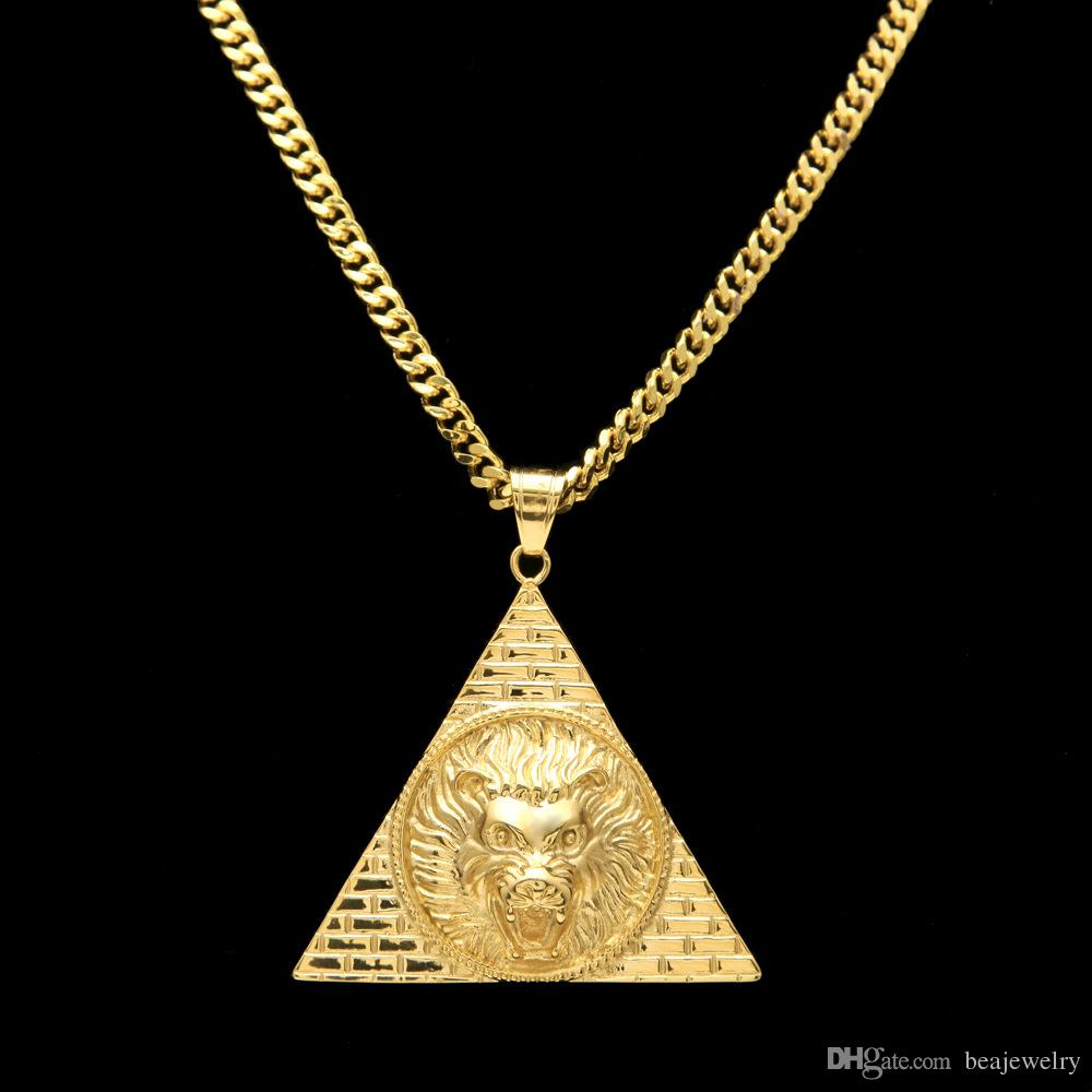 wholesale triangle egyptian pyramid with lion head pendants