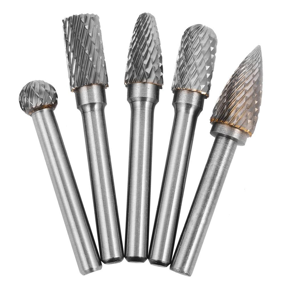 "5pcs 10mm 1/4"" Head Tungsten Carbide Rotary Burrs Die Grinder Carving Set BI224"