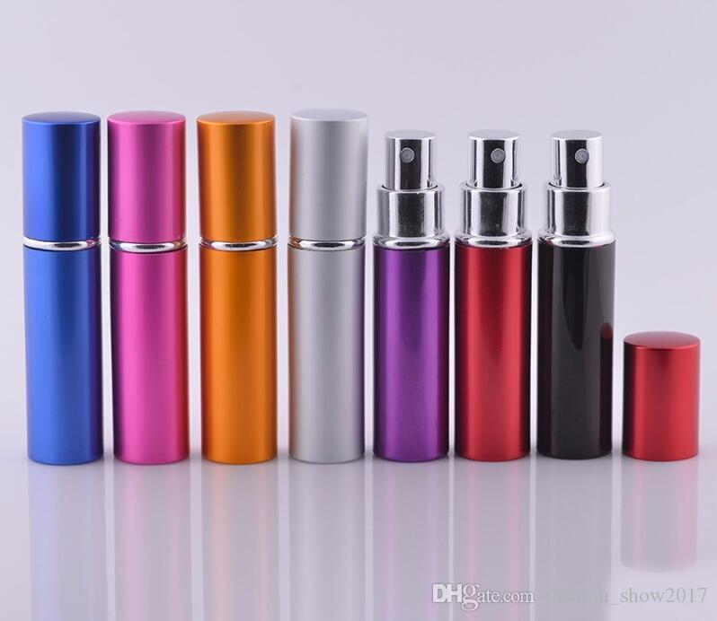 5 ml Mini Spray Botella de Perfume Viaje Recargable Vacío Envase de Cosméticos Botella de Perfume Atomizador Botellas de Aluminio Recargables