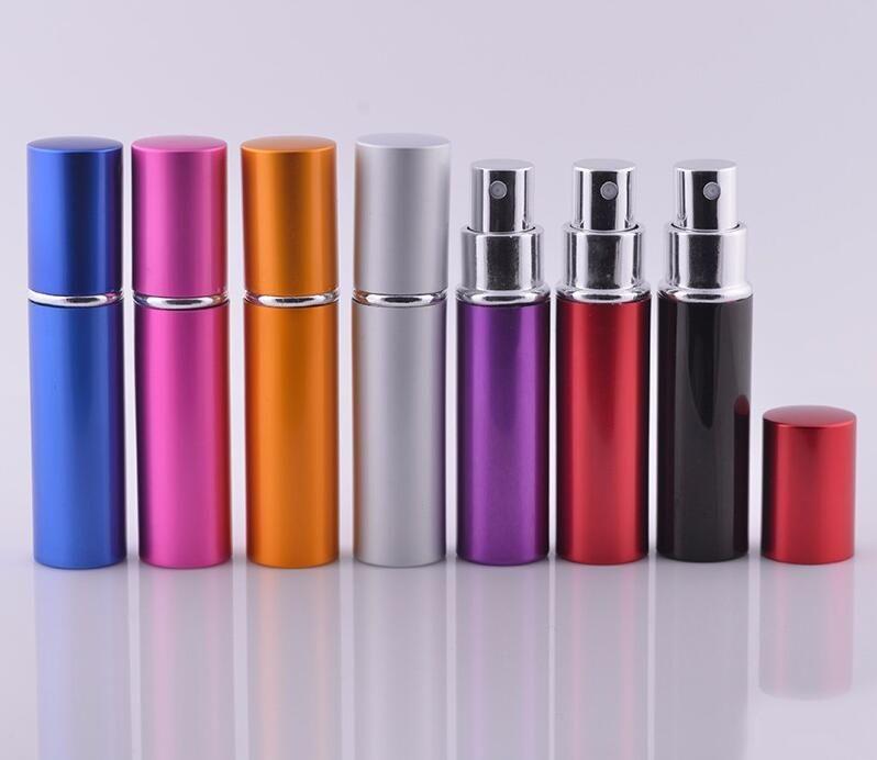 5ml 10ml Mini Mini Spray Pubume Bottle Viaggio Vuoto Contenitore cosmetico Atomizzatore Atomizzatore Bottiglie ricaricabili in alluminio