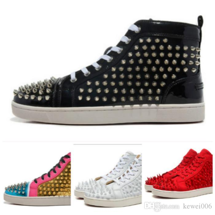 Leather Shoes Casual Shoes Tide Rivets Red Shoes High-top Cool Men ... 4a725ee1c