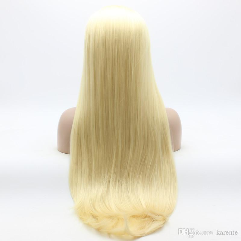 Parrucca Iwona Hair Straight Extra Long Light Blonde 22 # 613 Mezza mano legata parrucche sintetiche resistenti al calore