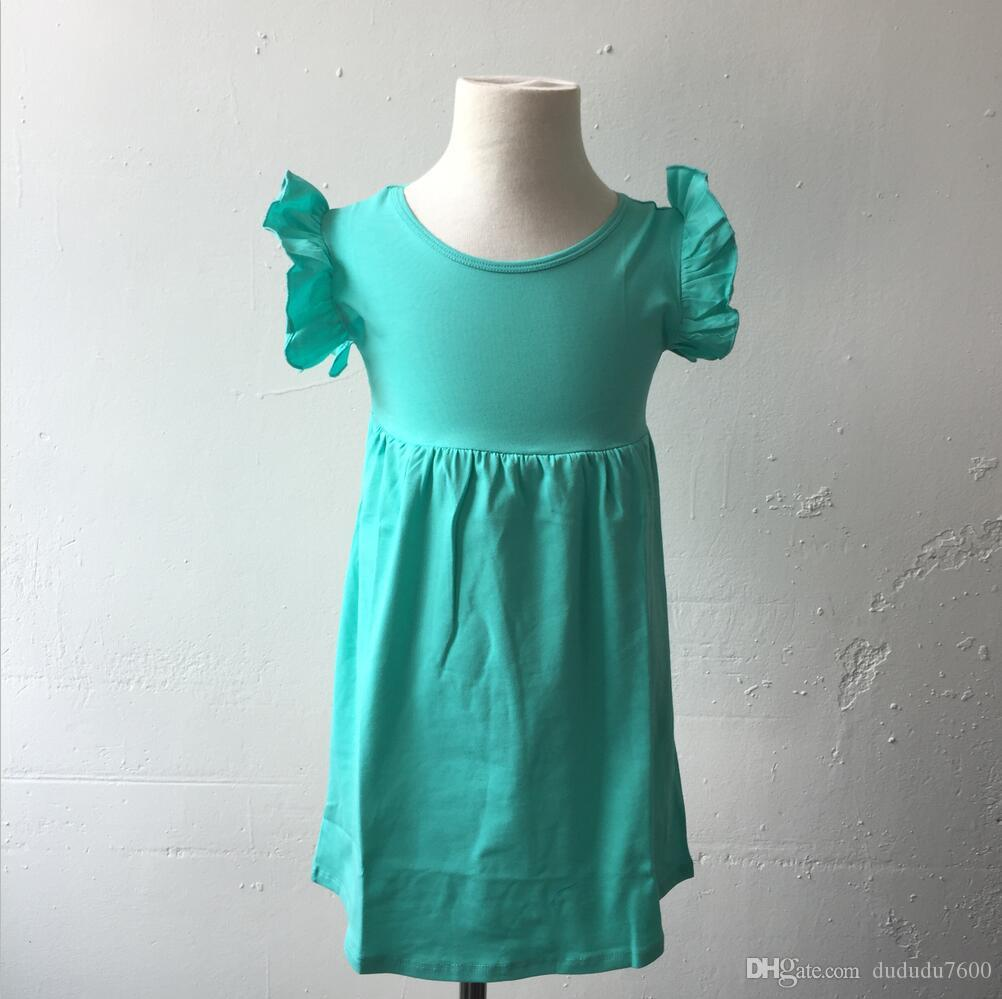 new fashion cotton dress for 0-12 years old girls wholesale high quality kids dress baby children flutter sleeveless tunic dress