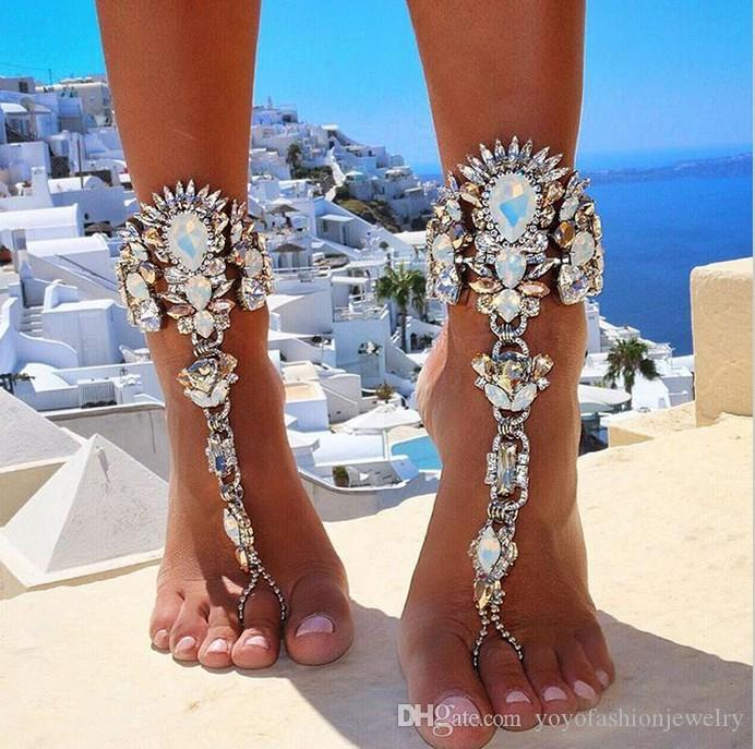 Ankle Bracelet For Beach Vacation Sandals Sexy Leg Chain Female Crystal Anklet Foot Jewelry Pie Leg Crystal Anklet