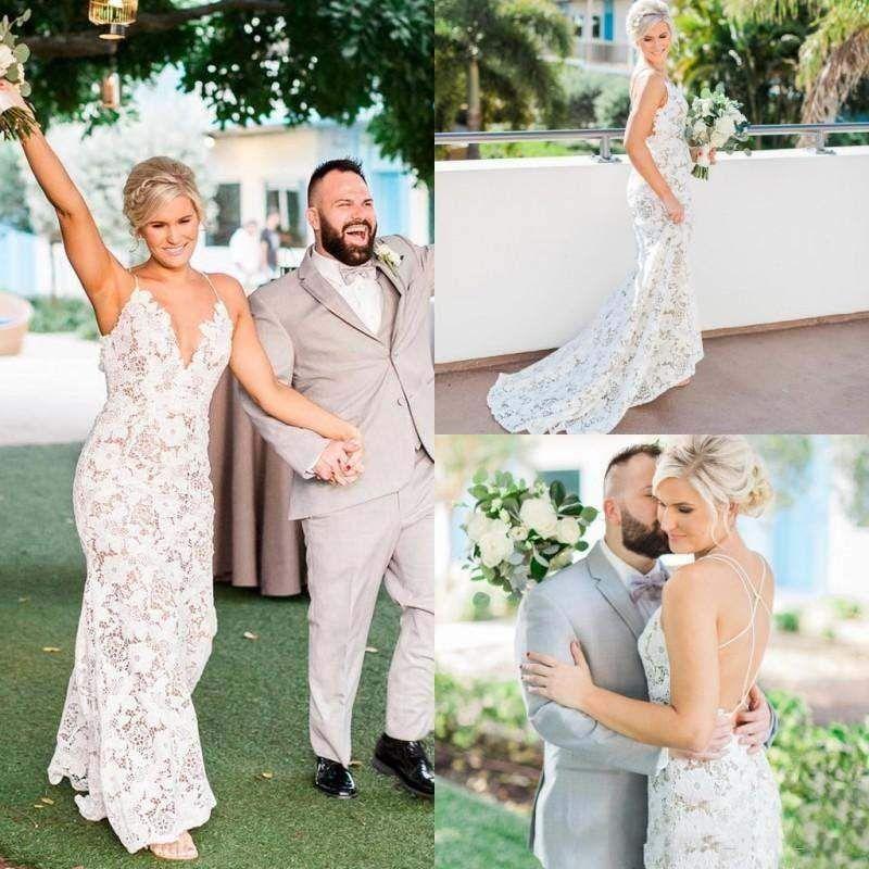 Sexy Backless Sheath Wedding Dresses 2017 New Spaghetti Backless