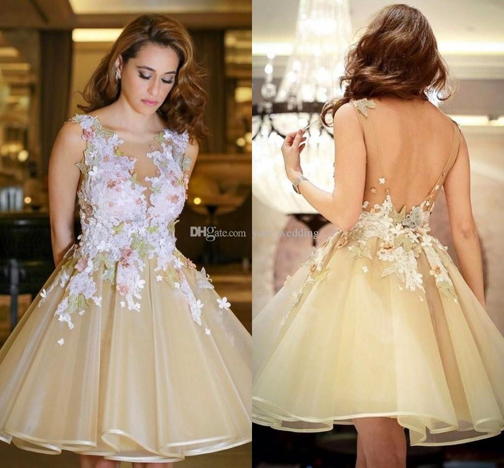 e3b092d6626 Modest Organza Champagne Short Prom Dresses Sheer Neck Sleeveless Appliques  Flowers Backless Short Homecoming Dresses Cocktail Party Dress Champagne  Prom ...