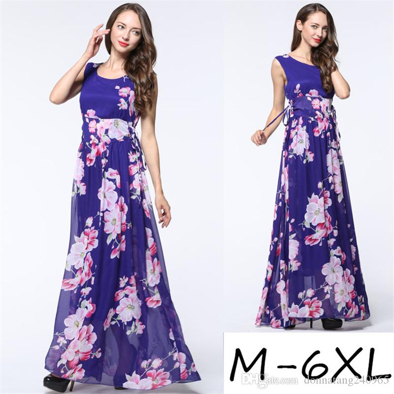 597444e4d1 Super Large Plus Size Floral Prints Chiffon Long Sleeveless Tank Dresses  Women Clothing Summer Style Casual Maxi Vestidos Oversize Women Short Dress  Styles ...