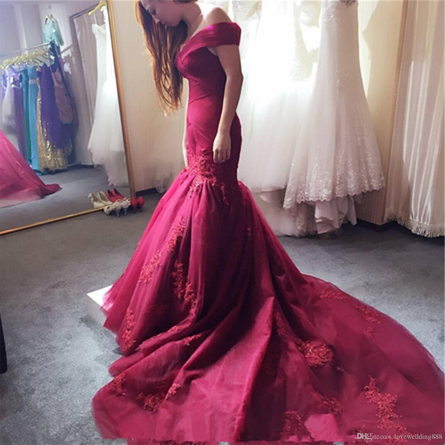 2017 Burgundy Off-The-Shoulder Prom Dresses Lace Appliqued Sequins Mermaid Evening Dresses Corset Back Charming Long Gowns