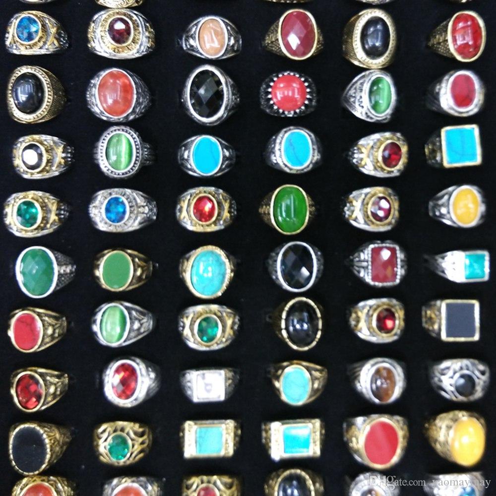 Mixed Lote Ouro chapeado chapeado prata Naturais anéis de pedra arcaicas estilo chinês Anéis Atacado