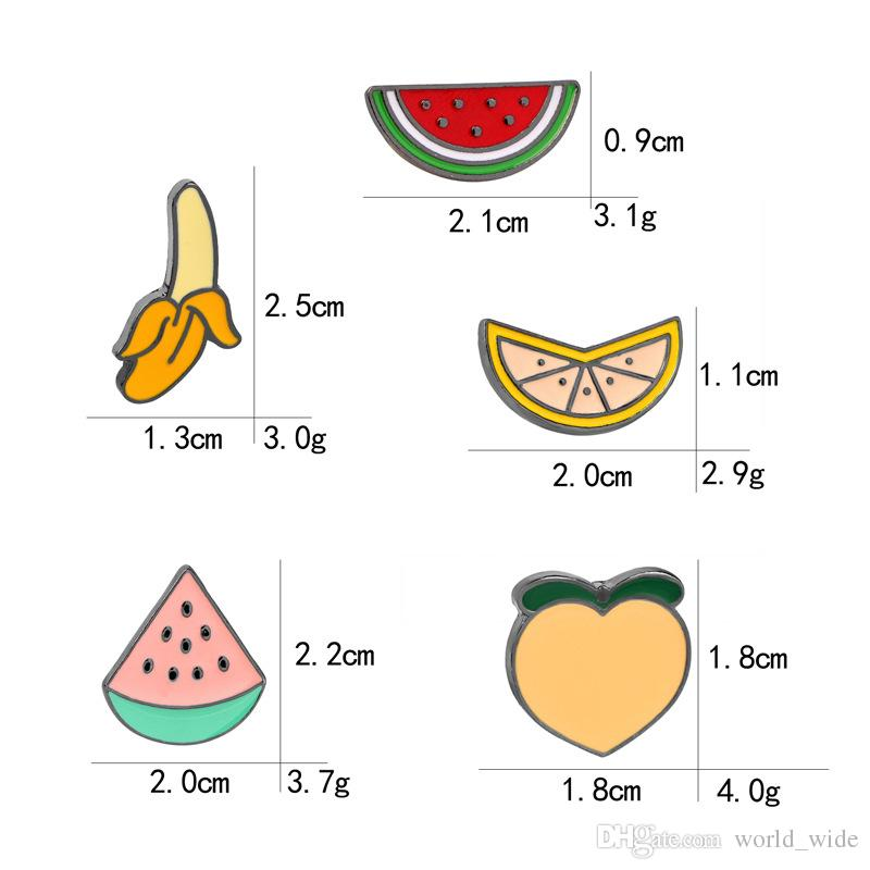 Красочные эмаль булавки воротник отворот значок Pin брошь DIY фрукты персик банан арбуз оранжевый детский подарок