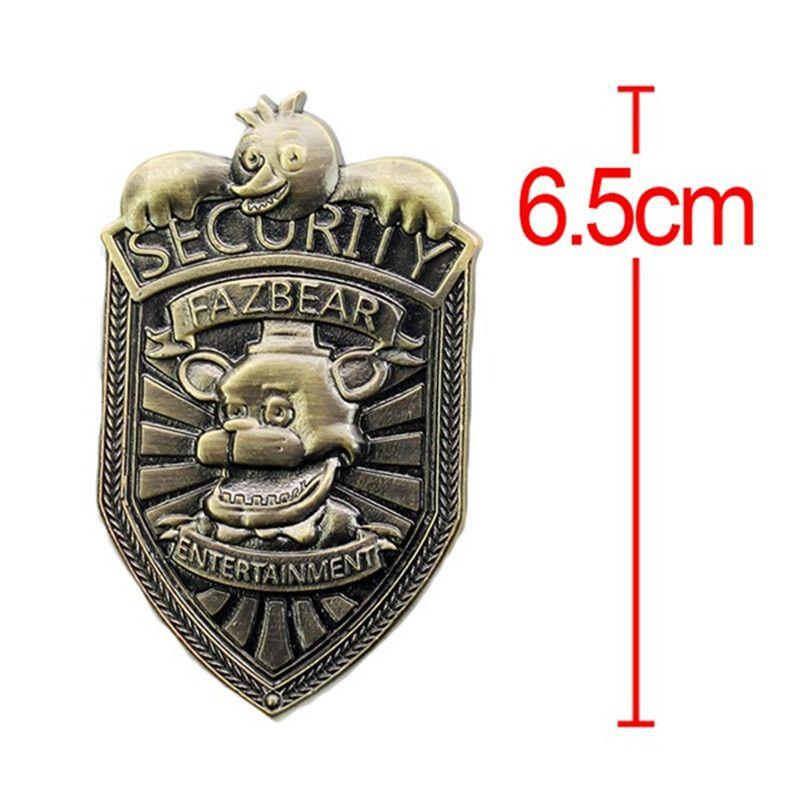 Hot New Game 5 Five Nights At Freddys Metal 6.5cm Fazbear Security Badge FNAF Figure