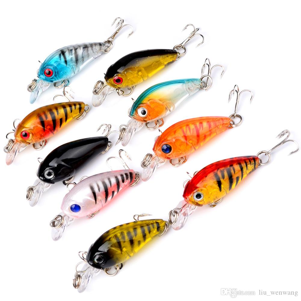 9-color 4.5cm 4g Hard Plastic Lures Fishing Hooks Fishhooks 3D Eyes Fishing Baits 10# Hook Artificial Pesca Tackle Accessories