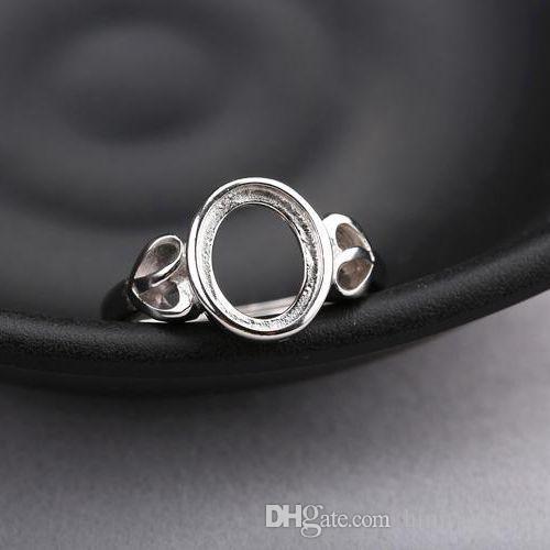 Anello di fidanzamento da donna con montatura ovale a cabochon ovale in argento sterling 925 8x10mm