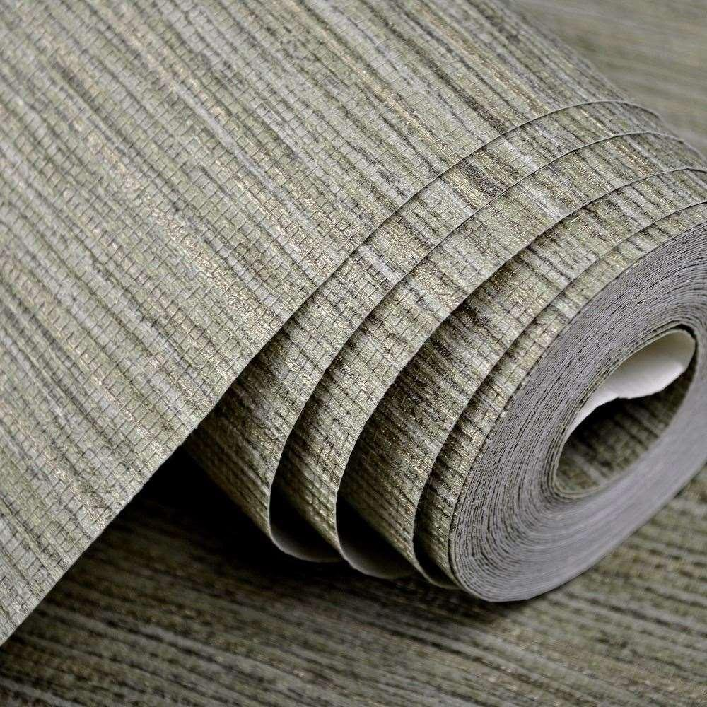 Modern Wallpaper Sage Green Metallic Faux Grasscloth: Modern Rustic Embossed Textured Wallpaper Horizontal Faux