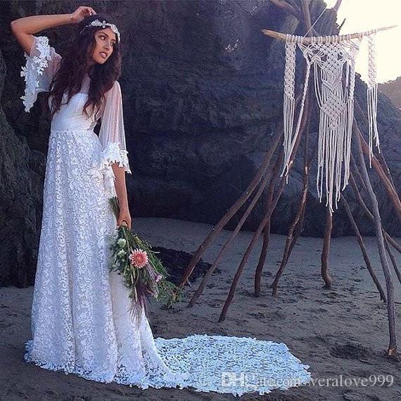 빈티지 긴 보헤미안 웨딩 드레스 2016 라인 깎아 지른듯한 뒤로 신부 드레스 스윕 기차 절반 소매 웨딩 파티를위한 우아한 신부의 가운