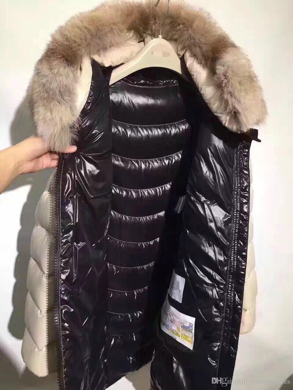 Magro Long Down Jacket 90% do soprador Duck edredon real pele gola do casaco Matte para baixo Long Sleeve Feminino Parkas