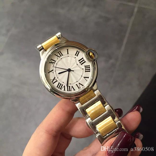 Mode Lady Quartz Montres femmes élégantes Montre habillée Relogio célèbres Rosegold en acier inoxydable Montres-bracelets en or