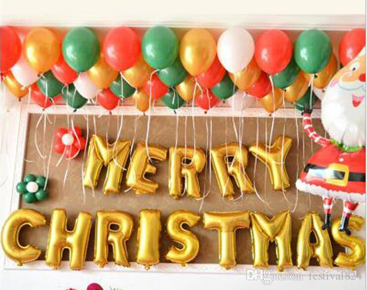 Cute Merry Christmas Alphabet Letters Balloons Party Decoration