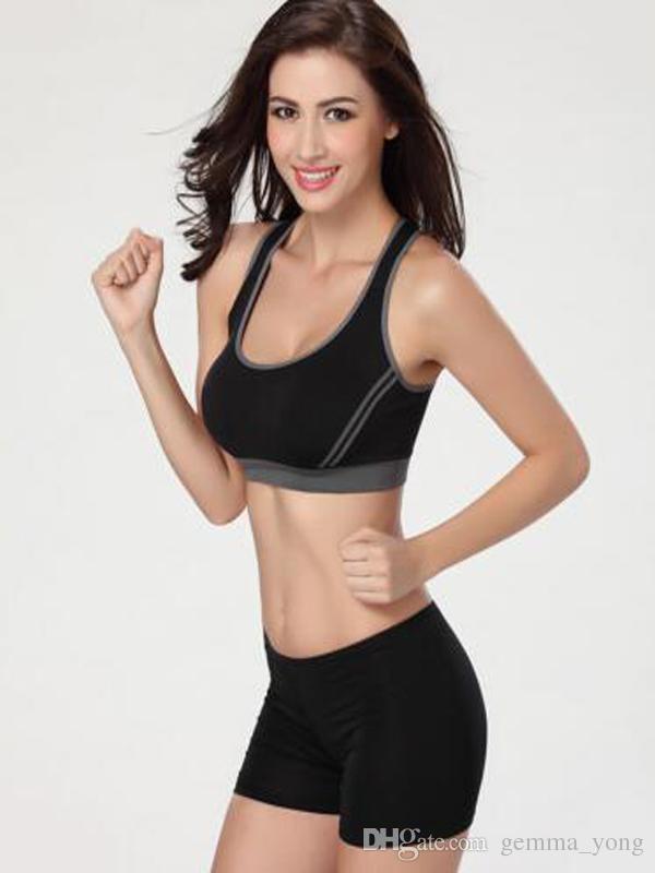 2017 Nuova moda donna moda imbottita Top gilet atletico palestra fitness sport reggiseni yoga stretch camicie gilet