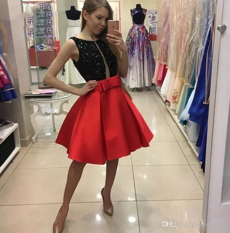 Short Black and Red Homecoming Dresses Sheer Plunging V Neck with Beads A-Line with Big Bow Knee Length Graduation Gowns Custom