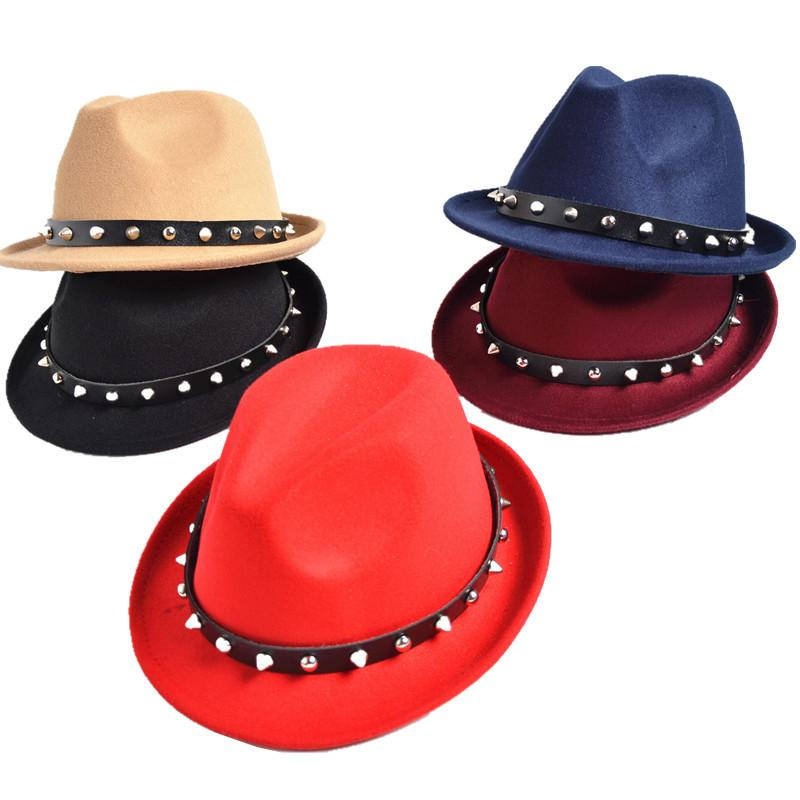 291c09dc65070 2019 New Rivet Men Women Wool Fedora Hats Soft Dance Party Wedding Stingy  Brim Caps Unisex Fashion Street Top Hats Jazz Cap GH 6 From Gslyy0712
