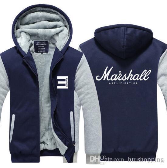 92e79eeb3 Marshall Amplification Logo Guitar Amp Hoodie Rock Band Music Thicken  Fleece Sweatshirts Jacket Zip up Raglan Tops USA EU size Plus size