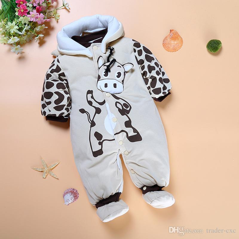 Grey Cow Milk Baby Winter Clothes Fleece Thick Newborn