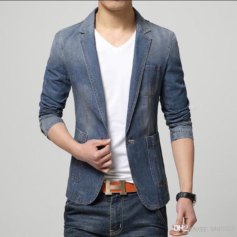 62331f4c5e Acquista Moda Uomo Blazer Uomo Trend Jeans Abiti Casual Suit Jean Jacket  Uomo Slim Fit Giacca In Denim A $63.82 Dal Oldriver | DHgate.Com