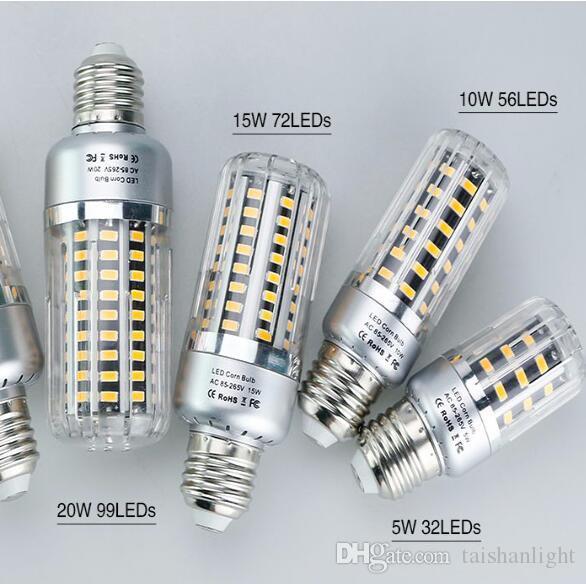 Led bulb 25w 20w 15w 10w 5w corn light 85 265v e27 e14 e12 for Lampadine led 5 watt