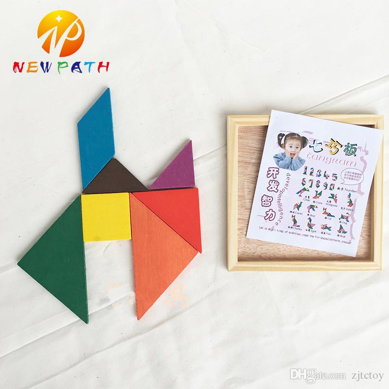 Colorful Tangram Children Mental Development Wooden Geometric Shape Jigsaw Puzzle Educational Toys for Kids intellectual Building Blocks