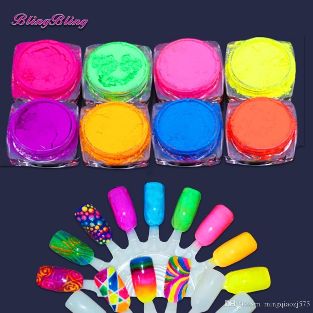 8 Boxes Neon Pigment Nail Powder Dust Ombre Neon Pigments Gradient ...