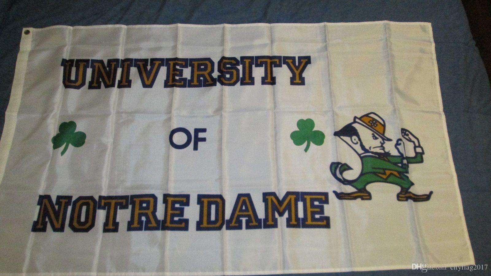 2018 University Of Notre Dame White Indoor Outdoor Football Flag Home U0026 Garden  Flag Party Banner Flags Custom City Flags From Cityflag2017, $1.93 | Dhgate.