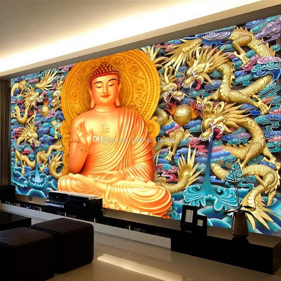 Gold Embossed Dragon Wall Mural Golden Buddha Wallpaper 3d ...