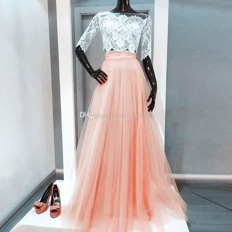 454e1931ef7 Peach Pink Two Piece Prom Dresses Off Shoulder Half Sleeves Illusion Lace  Jacket Crop Top Tulle Floor Length Light Orange Evening Gowns Prom Dress  Short ...