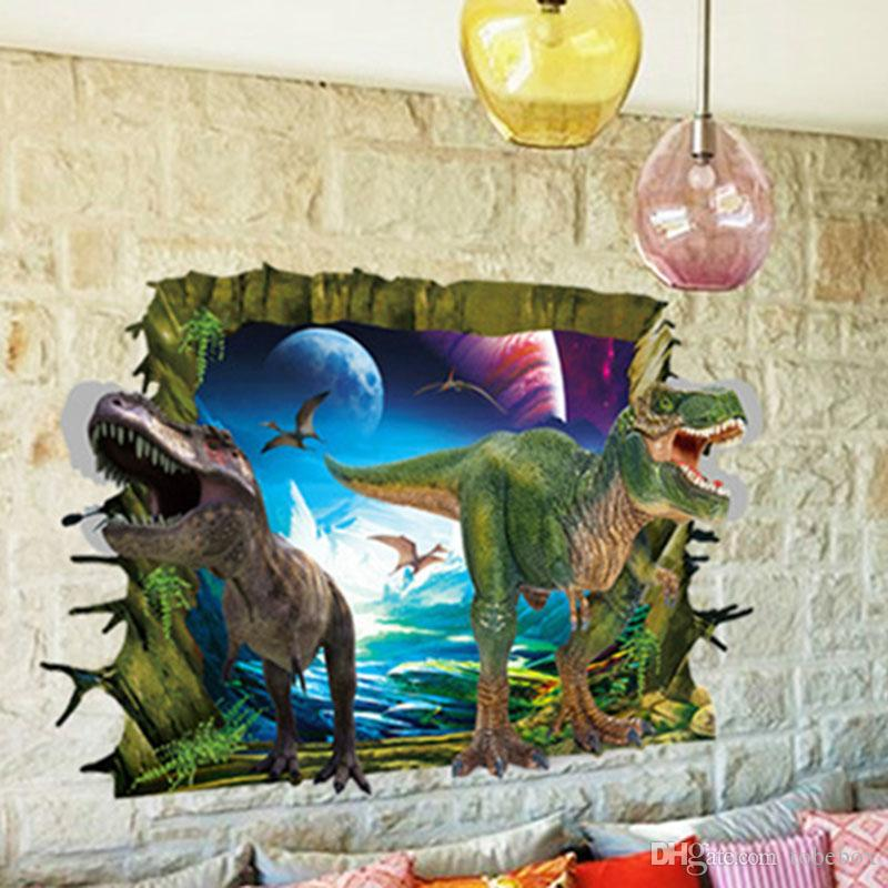 3d dinosaur wall stickers for kids rooms removable cartoon wall