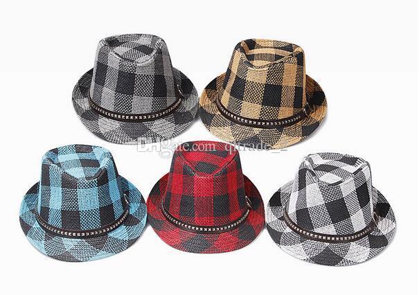 Cappello di paglia di stile della nuova di estate degli uomini del cappello di jazz del plaid della griglia dei cappelli del cappello della spiaggia degli uomini della nuova estate