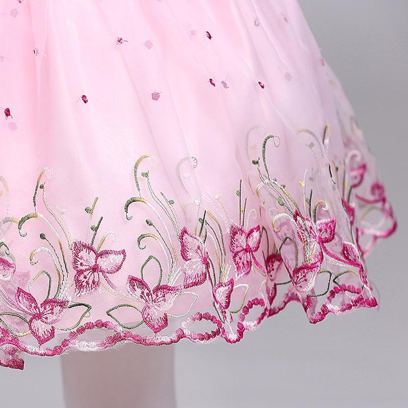A-line Short/Mini Long Sleeves Boat Neck Pink Flower Girl Dresses for Wedding Brithday Party Dresses with Embroidery/Bow