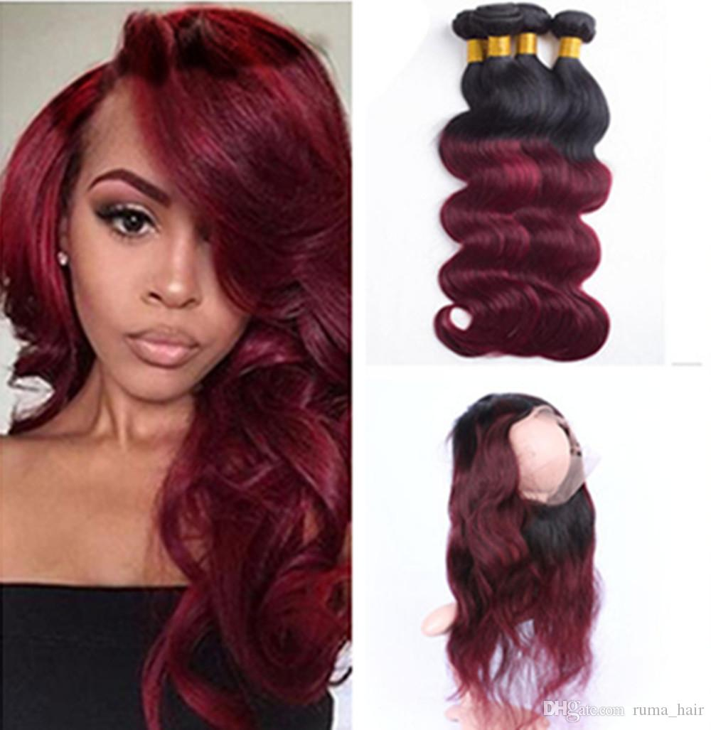 2019 Burgundy 360 Lace Frontal Body Wave Natural Hairline With Baby Hair  Virgin Brazilian Body Wave 360 Lace Frontal Closure Ombre 1b 99j From  Ruma hair f4ad3f9e2