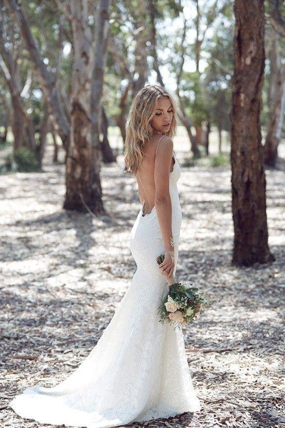 Katie May Backless Wedding Dresses Mermaid Spaghetti Strap Sexy Full Lace Wedding Dress Cheap Sweep Low Back BOHO White Bridal Dress