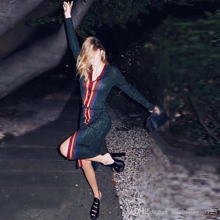 Pist Elbiseler 2017 Renkli Dikey Çizgili V Yaka Uzun Kollu kadın Elbise Çarpıcı Altın Iplik Örme Bodycon Elbiseler Kadın M061724