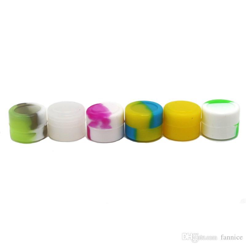 Frascos De Silicone Dab Recipiente De Cera 2 ml Caixa De Armazenamento De Óleo Slicks Não-stick Silicone Recipiente 10 pçs / lote