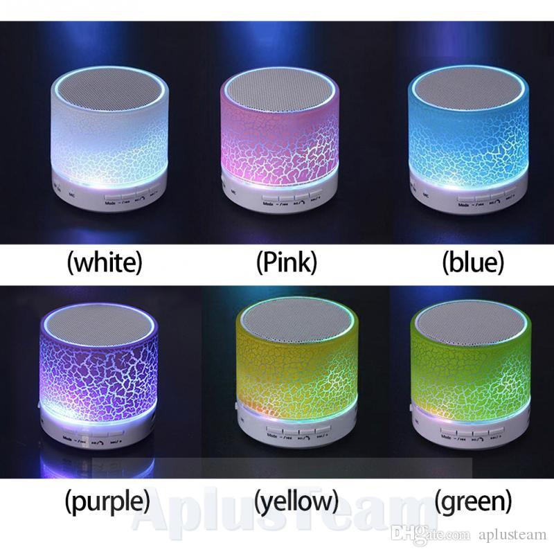 Mini A9 Handsfree Wireless Night Light Up Bluetooth Speaker Support TF USB FM Radio Headphone Mic Subwoofer Crack Pattern TF Card AUX Input