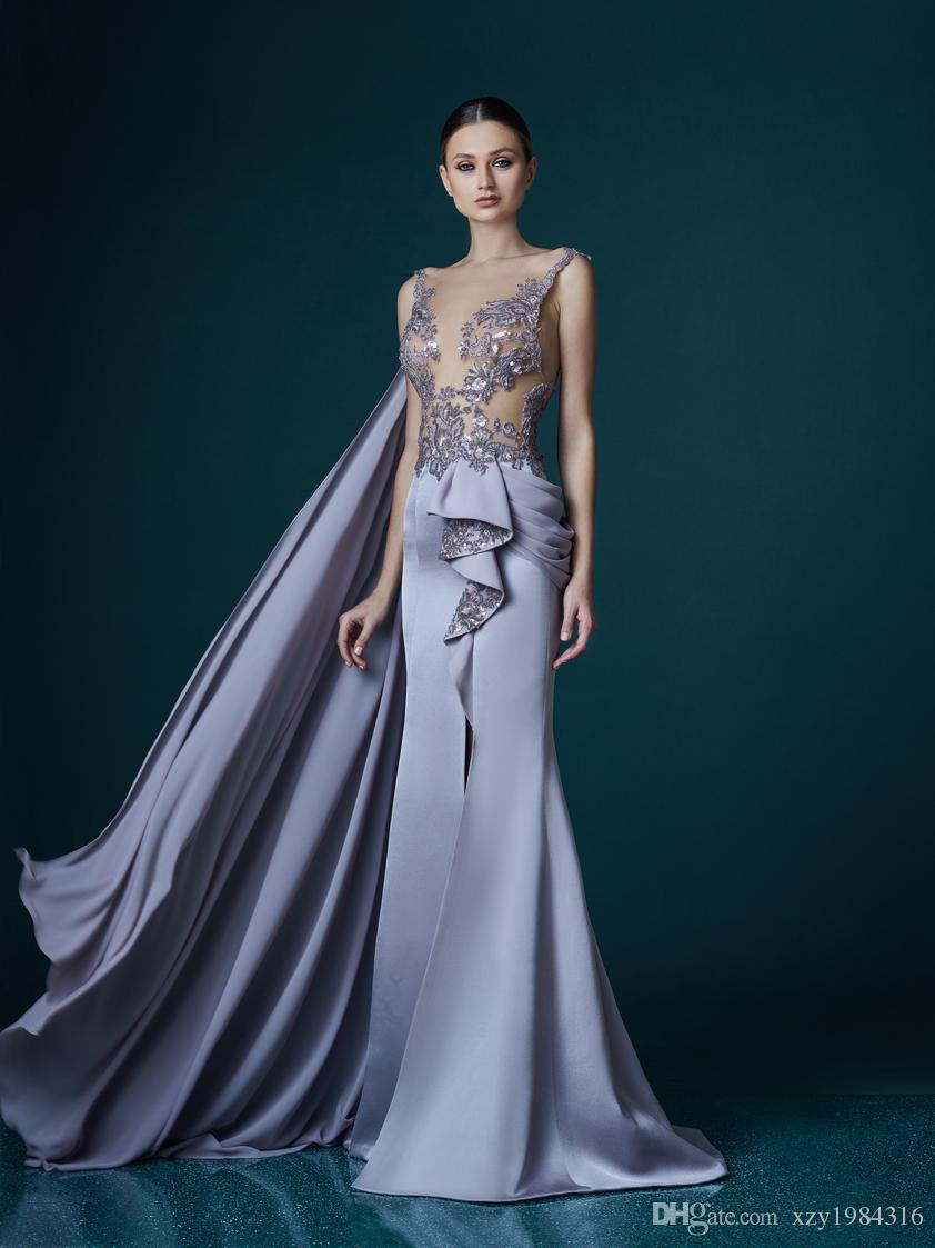 Großhandel 11 Sexy Abendkleid Mit Wickel High Front Split Illusion Hals  Ärmelloses Kleid Applique Mit Lavendel Charmante Satin Meerjungfrau