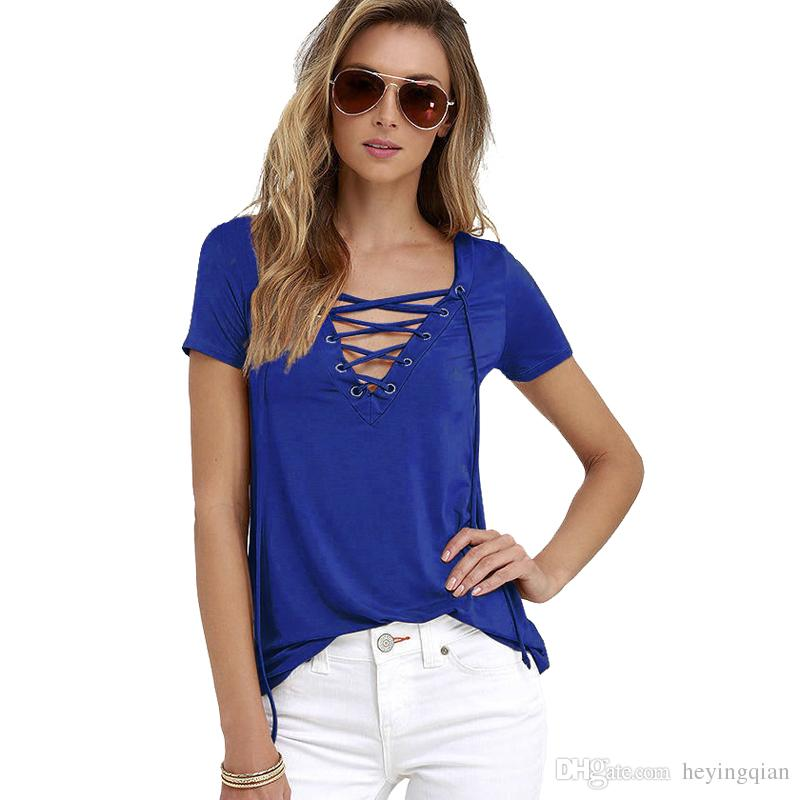 7d0b29ef0 2018 Summer Fashion Women T-shirts Short Sleeve Sexy Deep V Neck ...
