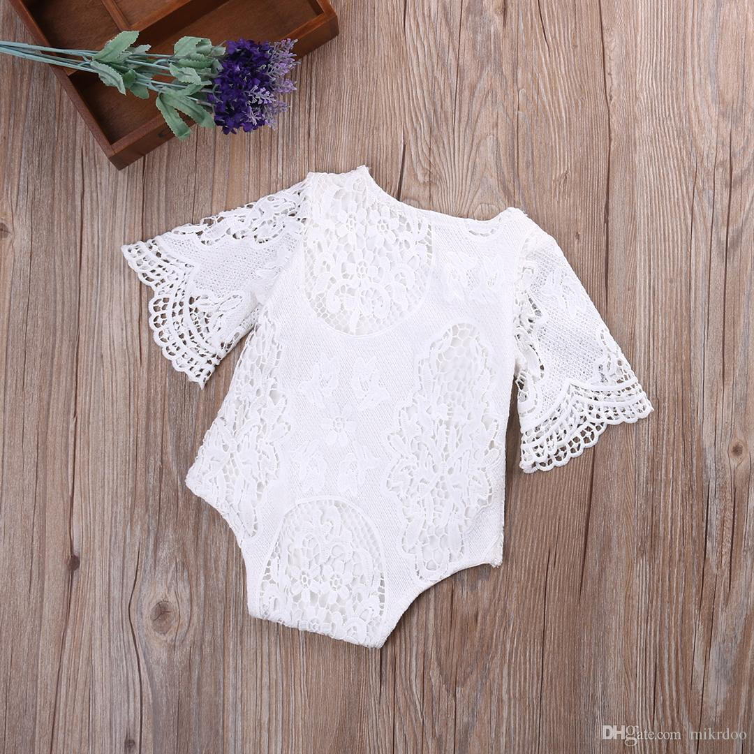Mikrdoo Lovely Baby Girls Romper White Ruffles Sleeve Rompers Infant Lace Sweet Little Baby's Jumpsuit First Birthday Clothes Top Sunsuit
