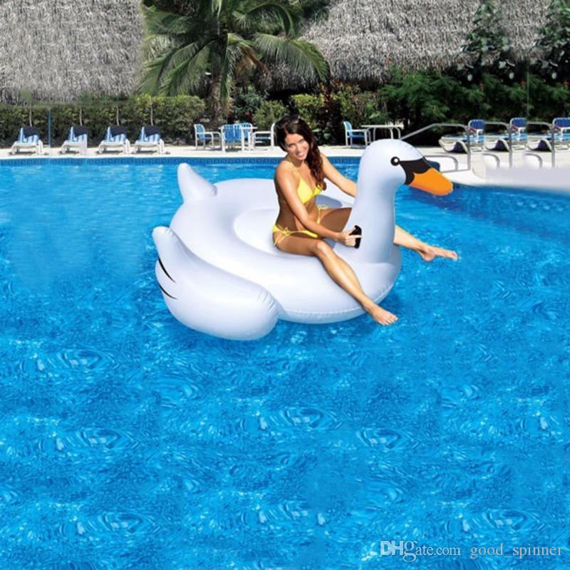 190CM 75 Inch Giant Inflatable Flamingo Swan Pool Float Pink Ride-On Swimming Ring Adults Children Water Holiday Party Toys Piscina