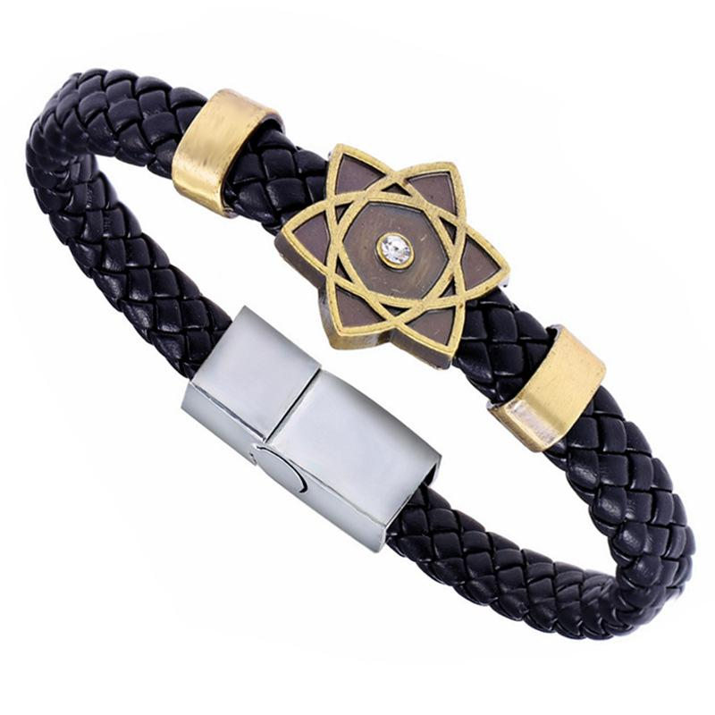 Cartoon Anime Naruto Konoha Black Butler Bracelet Conan Maganetic Button One Piece Final Fantasy Wristband